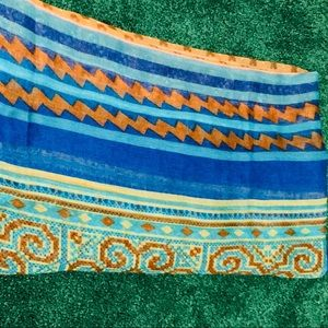 Blue tribal print head/neck scarf